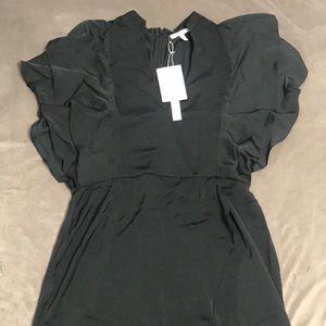 Avec Les Filles Black Dress with Flutter Sleeves